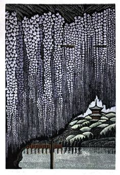 sankeien wisteria, woodcut -- Ray Morimura (born in Tokyo He began his career as a painter and late turned to woodblock printmaking. He has regular solo exhibitions in Japan and the United States Art Asiatique, Art Japonais, Art Et Illustration, Botanical Illustration, Japanese Painting, Chinese Painting, Chinese Art, Japanese Prints, Japan Art