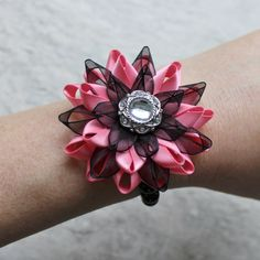 Flower Bracelet Wrist Corsage Coral and Black Wrist Corsages Mother of the Bride Flower Prom Corsage Bridesmaid Flowers Coral Wedding