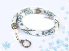 Bead Crochet Necklace First snow   White Blue Silver  by LeeMarina, $75.00