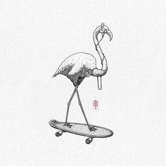 """ถูกใจ 1,189 คน, ความคิดเห็น 17 รายการ - BACHT Drawing & Illustration  (@bachtz) บน Instagram: """"Enjoy the music. Old work... just refining the it a bit. . . #flamingo #skateboard #music #bachtz"""""""