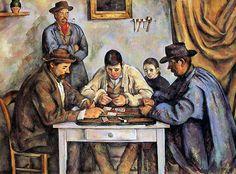 """Paul Cézanne (French, 1839-1906), Les joueurs de cartes, 1890-92. Oil on canvas, 134 x 181.5 cm. Sa réputation ne va plus cesser de grandiret de s'affirmer (Maurice Denis peint en 1900""""L'Hommage à Cézanne""""aujourd'hui au musée d'Orsay), avec de nouvelles expositions, chez Vollard en 1898, au Salon des indépendants puis au Salon d'automne (1899, 1904, 1905, 1906). De nombreux peintres viennent alors voir le Maître à Aix.  Toutefois c'est seulement un siècle après la première grande…"""