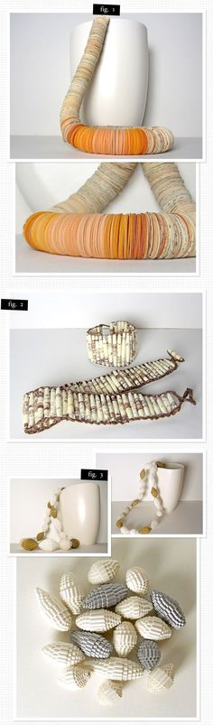 handcrafted paper and cardboard jewelry by Dorisse