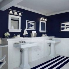 Navy and white bathroom ideas innovative navy blue bathroom decor ideas about navy bathroom on navy Nautical Bathrooms, Blue Bathroom Decor, Navy Blue Bathrooms, White Beadboard, Nautical Bathroom Decor, Modern Bathroom Decor, Bathroom Design, Bathroom Decor, Beach Bathroom Decor