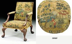 A GEORGE II WALNUT LIBRARY ARMCHAIR Attributed to Giles Grendey, circa 1740. The padded rectangular back & seat upholstered in petit-point needlework, back with ribbon-bound oval cartouche depicting a peasant leaning on a stick with a dog in a landscape with trees, houses & a windmill, seat with a cartouche depicting a farmyard landscape with a dog barking at geese, both within foliate angles, downswept arm supports carved with acanthus & rosettes on short cabriole legs