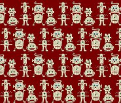 red zakbots fabric by scrummy on Spoonflower - custom fabric
