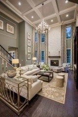 New living room layout with fireplace high ceilings chandeliers 63 ideas Living Room White, Paint Colors For Living Room, Small Living Rooms, Rugs In Living Room, Living Room Furniture, Living Room Decor, Dining Rooms, Family Rooms, Furniture Removal