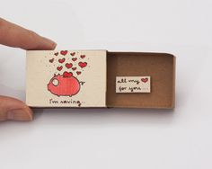 Missing you Card Piggy Bank Matchbox I'm saving all by 3XUdesign