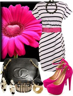 """Hint of Hot Pink"" by anna-campos ❤ liked on Polyvore"