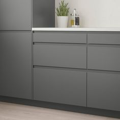 Full Product Info - IKEA - VOXTORP, Drawer front, dark gray, VOXTORP is a smooth door with integrated handles. It brings clean lines and an open, modern look to your kitchen. The depth of the handle makes it easy to open and close the drawer. Grey Kitchens, Cool Kitchens, Modern Kitchens, Small Kitchens, New Kitchen, Kitchen Decor, Kitchen Ideas, Rustic Kitchen, Kitchen Hacks