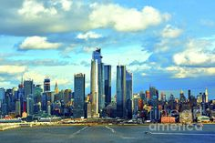Postcard Winter Day NYC by Regina Geoghan Manhattan Skyline, New York Skyline, Blue Artwork, One World Trade Center, Sky Full, New York Central, White Clouds, Fun Shots, Winter Day