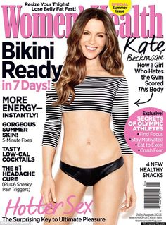 The lovely Kate Beckinsale and her washboard abs on the July cover of Women's Health. #fitness #Kate_Beckinsale #abs