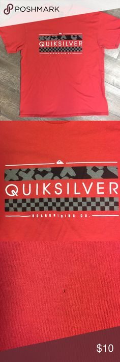 Men's T-shirt Men's large Quiksilver men's red t-shirt. Upon inspection there is a tiny hole on bottom front. Not noticeable. Quiksilver Shirts Tees - Short Sleeve