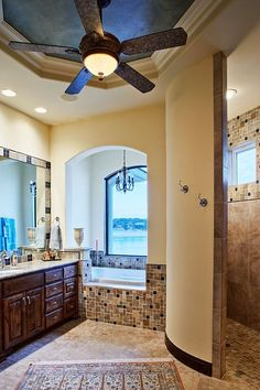 Love The Trey Ceiling Painted A Contrasting Color Fan In Bathroom Is Great