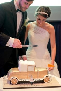 """For the avid car collector....we're loving this vintage Couture Cake! We're running out of words to describe the cakes from this Chattanooga wedding cake bakery - they're 'that"""" good! Click the image for details."""