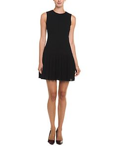RED Valentino Black Dropped Waist Pleated Wool Dress