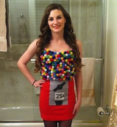 Funny and easy! Glue pom poms to a top for a gumball machine costume.