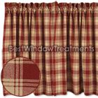 Millbrook Check Plaid Tier Curtains or café kitchen curtains : in red or navy blue color: Best Window Treatments