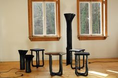 pressed wood black collection by johannes hemann for industry gallery - designboom | architecture & design magazine