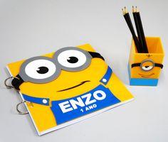 Caderno de Mensagens + porta Lápis Minions
