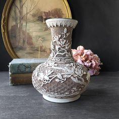 Vintage Brass Vase White Faux Ivory Resin Bird & Flower | Etsy