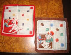 Very good vintage condition on these 1940s collectible handkerchiefs signed by the artist Tom Lamb. If you look him up on the internet he is amazing. Both handkerchiefs are 9 square. One has red bordered theme color with a dog playing with a jack-in-the-box. Other is brown border & theme color with a dog wearing a top hat looks like he knocked over a vase. From an estate these signed childrens handkerchiefs by artist, illustrator, and inventor, Tom Lamb are awesome catching a glimpse into...