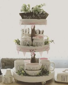 34 Gorgeous Shabby Chic Valentine Kitchen Decor Ideas - Here are a few simple tips that will help you keep your kitchen functional as well as beautiful. Be creative with glass displays. If you have glass pa. 3 Tier Stand, Tiered Stand, Country Decor, Farmhouse Decor, Farmhouse Kitchens, Antique Farmhouse, Farmhouse Design, Galvanized Tray, Tray Styling