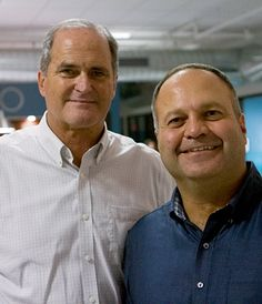 'I think we've succeeded by having good writers and good messages at the core of everything,' says Kevin Stickney, left, president and co-founder of Portsmouth-based Calypso Communications. At right is Houssam Aboukhater, the firm's recently named managing partner.