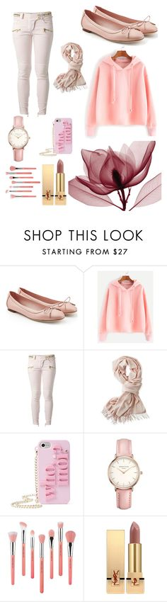 """Pink"" by bindisydney ❤ liked on Polyvore featuring Salvatore Ferragamo, Balmain, Mark & Graham, Kate Spade, Topshop, Bdellium Tools, Yves Saint Laurent and Pink"