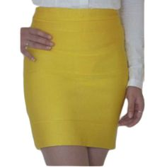 Herve Leger High twist mini skirts yellow. Only $126.00   See more about mini skirts, herve leger and twists. Herve Leger, Sexy Skirt, Mini Skirts, Yellow, Beautiful, Women, Style, Fashion, Swag
