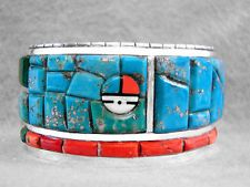 Navajo Bracelet Turquoise Morenci Coral Sterling Silver Early Calvin Begay W