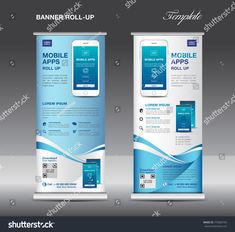 MOBILE APPS Roll up banner template, stand layout, Blue banner, application presentation, infographics, advertisement, flyer, x-banner, j-flag, poster, advertisement, print media advertising