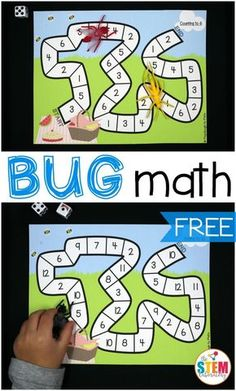 Free bug math games for kids! What a fun bug activity for preschool or kindergarten. Great activities for practicing number recognition and addition.