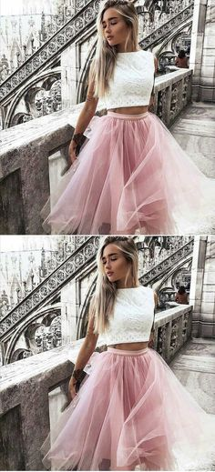 stylish 2 pieces homecoming dresses, fashion semi formal pink dresses, 2018 homecoming dresses