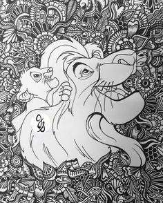 Disney Mandala Coloring Pages Lion King Design Etsy Disney Coloring Pages, Coloring Pages To Print, Coloring Book Pages, Printable Coloring Pages, Coloring Sheets, Doodle Coloring, Mandala Coloring Pages, Disney Symbol, Mandala Disney