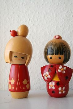 Red Kokeshi Dolls