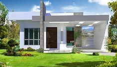 65 Ground Floor Facades - Models and Photos Small Modern House Exterior, Modern House Facades, Modern House Plans, Home Building Design, Building A House, House Design, One Storey House, Entrance Design, Box Houses