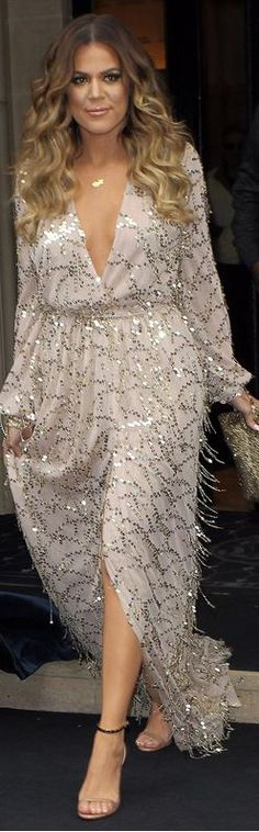 Who made  Khloe Kardashian's silver sequin and beaded fringe wrap maxi dress that she wore in Paris?
