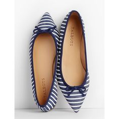 Talbots Women's Mira Ballet Flats Stripe Textured Leather ($109) ❤ liked on Polyvore featuring shoes, flats, ballet flats, flexible ballet flats, striped flats, ballerina flat shoes and flat shoes