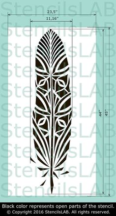 Fantasy Feather Wall Stencil Reusable feather by StencilsLabNY