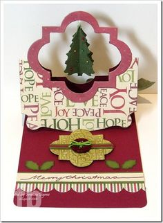 Merry Christmas.  Pop 'n Cuts Flying Easel card created by Frances Byrne using Sizzix Christmas Tree Framelits; Sizzix Funky Labels Framelits; SU Exclusive Pop N Cuts Card Base