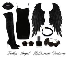 """Fallen angel Halloween costume"" by elliebolt on Polyvore featuring Pilot, Kendall + Kylie, Lime Crime, RGB Cosmetics and Erica Lyons"