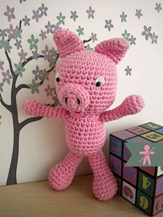 Crocheted by AmigurumisFanClub!!! Free pattern: http://www.amigurumitogo.com/2014/06/little-bigfoot-pig-amigurumi-pattern-free.html
