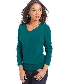 JM Collection Long-Sleeve V-Neck Sweater - Sale & Clearance - Women - Macy's