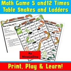 Instant Gifts For Kids/ 12 and 5 Times Tables Snakes and Ladders Printable Multiplication fun Board Games/ Times Tables Activities 5 Times Table, Times Tables Games, Maths Paper, Paper Games, Snakes And Ladders Printable, Printable Math Games, Multiplication Games, Fun Board Games, Fun Math