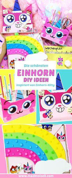 Die schönsten Einhorn DIY Ideen kannst du mit diesem Back To School DIY Video ganz einfach selber machen. Bastle kreative Schulsachen und Organizer DIYs im Einhorn-Kitty Stil!