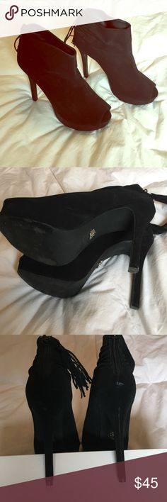 Rock and Republic stilettos Black faux suede 5 inch peep toe stiletto, with high ankle and zipper tassel. Leather insole for added comfort. Worn a few times, tried to photograph scratch on the heel, will take more pictures in a separate listing if needed! Rock & Republic Shoes Heels
