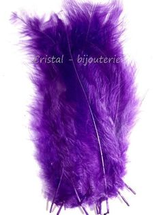 ♥PLU2-05♥ 10 PLUMAS NATURALES TEÑIDAS  FEATHER COLOR MORADO  13-15 CM♥