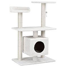 [en.casa] Katzen Kratzbaum [ca. 60 x 40 x 95 cm][weiß] Kuschelhöhlen / Aussichtsplatformen / Sisal / mit vielen Spiel - und Kuschelmöglichkeiten