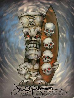 Surfs up- artwork on metal by Hawaii artist Dennis Mathewson http://cosmicairbrush.com