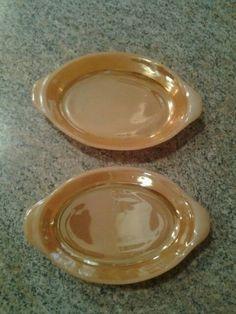 Anchor Hocking Fire King Peach Lusterware RARE Small Au Gratin Dishes - 2